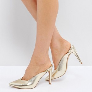 Champagne Metallic Pointy Toe Stiletto Heels Mule
