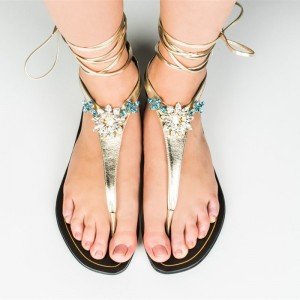 Gold Metallic Rhinestone Strappy Sandals Comfortable Flats