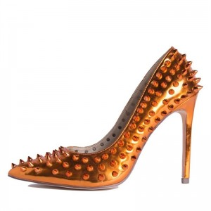 Orange Metallic Rivets Stiletto Heels Pumps