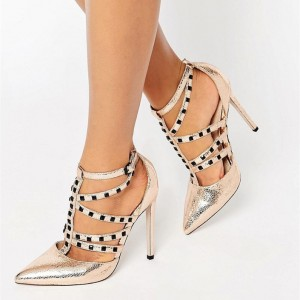 Champagne Metallic Strappy Heels Stiletto Heel Pumps