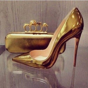Women's Golden Stiletto Heels Mirror Leather Pumps