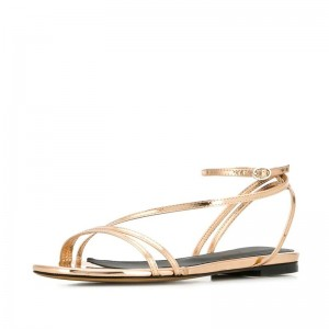 Gold Patent Leather Ankle Strap Flat Sandals