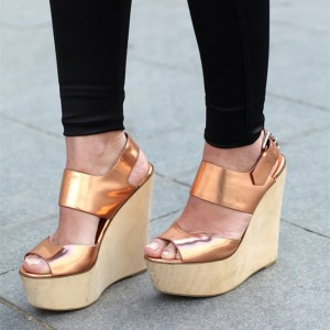 Gold Peep Toe Platform Wedge Sandals Buckle Sandals