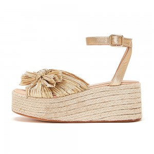 Gold Platform Bow Ankle Strap Espdrille Wedges
