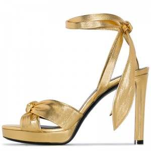 Gold Platform Sandals Bow Chunky Heel Ankle Strap Sandals