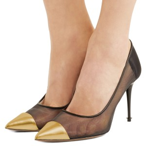 Gold Pointy Toe 4 inch Heels Black Mush Stiletto Heel Pumps