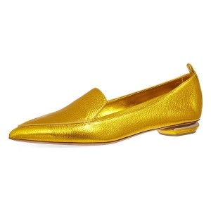 Gold Pointy Toe Low Heel Loafers for Women