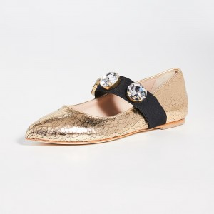 Gold Pointy Toe Rhinestone Comfortable Flats