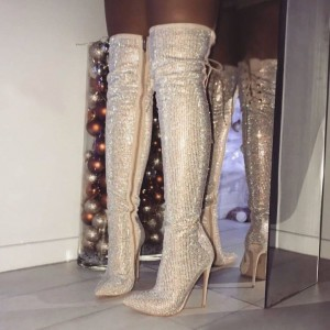 Gold Pointy Toe Sparkly Stiletto Thigh-high Long Boots