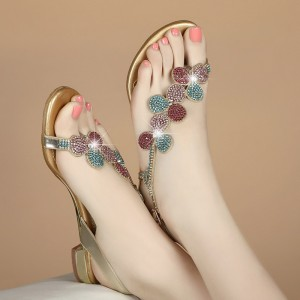 Colorful Rhinestone Sparkly Sandals Open Toe Flat Shoes US Size 3-15