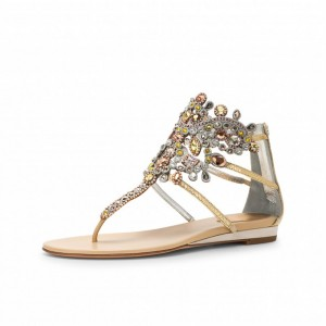 Gold Flip-Flops Wedding Sandals with Colorful Rhinestones