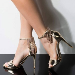 Gold Rhinestone Fringe Sandals Open Toe Ankle Strap Heel Evening Shoes