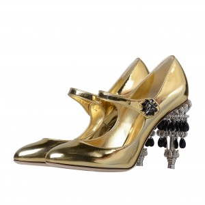 Gold Rhinestone Heel Mary Jane Pumps