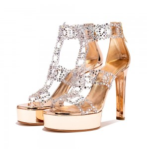 Gold Rhinestone Heels T Strap Chunky Heels Sandals with Platform