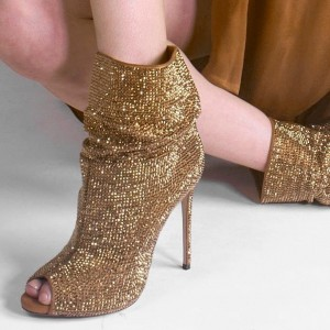 Gold Rhinestone Peep Toe Booties Stiletto Heel Ankle Boots