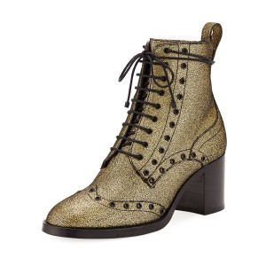 Gold Round Toe Chunky Heel Boots Lace up Ankle Booties