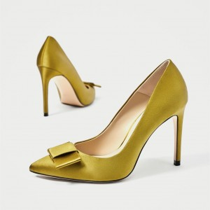 Gold Satin Bow Stiletto Heels Pumps