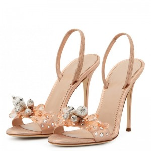 Rose Gold Satin Rhinestones Slingback Heels Sandals