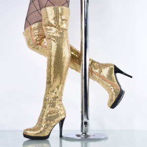 Gold Sequined Long Boots Stripper Shoes Platform Fashion Boots