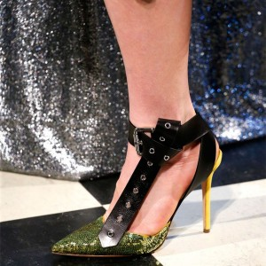 Gold Sequined Prom Shoes Stiletto Heels Buckle Ankle Strap Pumps