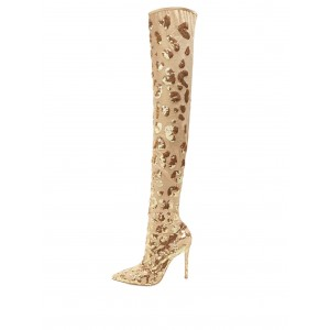 Gold Sequin Boots Pointy Toe Stiletto Heel Evening Over-the-Knee Boots