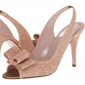 Rose Gold Heels Bow Sequined Peep Toe Stiletto Heels Slingback Pumps