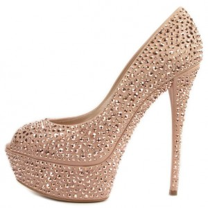 Blush Prom Shoes Rhinestone Hotfix Peep Toe Platform Pumps