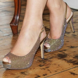 Gold Sparkly Peep Toe Platform Heels Shoes Slingback Pumps