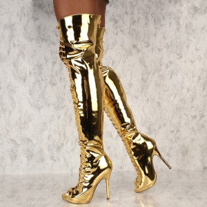 Gold Stiletto Heel Thigh High Lace Up Boots