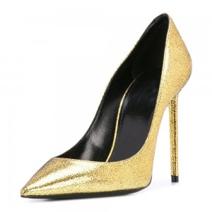Gold Stiletto Heels Pumps