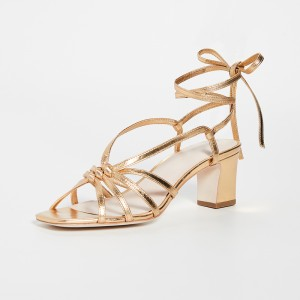 Gold Strappy Chunky Heel Sandals