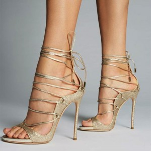 Gold Strappy Heels Stiletto Heel Open Heels Sandals
