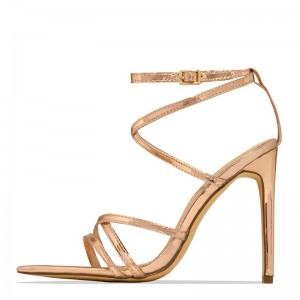 Gold Strappy Sandals Ankle Strap Stiletto Heel Sandals