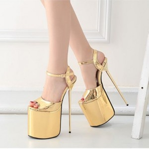 Gold Stripper Heels Peep Toe Metallic Stiletto Heel Sexy Shoes