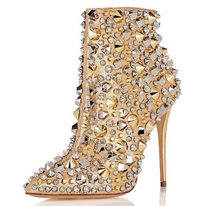 Gold Studs Stiletto Heel Ankle Booties