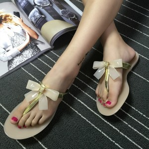 Gold Summer Sandals Cute Bow Flip Flops Flat Beach Sandals