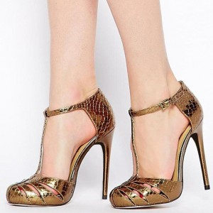 Gold Metallic Python Hollow Out Stiletto Heel T Strap Sandals