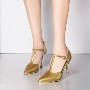 Gold T Strap Pumps Closed Toe 3 Inches Stiletto Heels Shoes