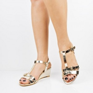 Gold T Strap Wedge Sandals Open Toe Sandals with Buckle