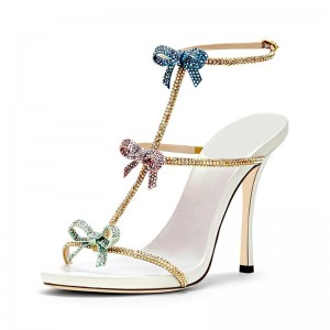 Three-Tone Bows Wedding Heels Rhinestone Hotfix Stiletto Heel Sandals