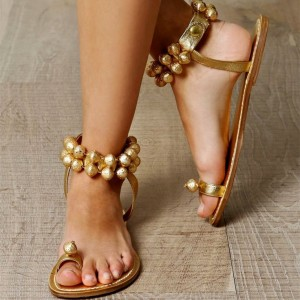 Gold Flats Toe Loop Sandals Jeweled Summer Beach Sandals