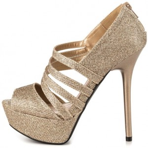 Gold Wedding Sandals Peep Toe Stiletto Heels Glitter Platform Sandals