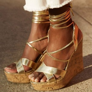 Gold Wedge Heels Open Toe Strappy Sandals with Platform