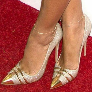 Silver and Gold Glitter Shoes 5 Inches Stiletto Heels Pumps Evening Shoes for Cocktail Party