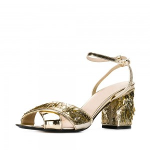 Golden Sequined Open Toe Ankle Strap Chunky Heel Sandals