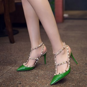 Women's Green T-Strap Dress Shoes with Rivets Stiletto Heels Closed Toe Sandals