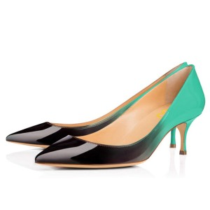 Green and Black Gradient Kitten Heels Pointy Toe Patent Leather Pumps