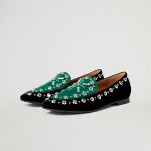Green and Black Studs Flat Loafers for Women