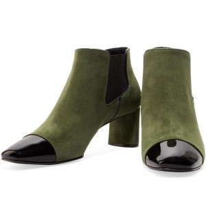 Green and Black Suede Chelsea Boots Chunky Heel Ankle Boots