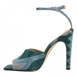 Green and Blue Sparkly Chunky Heel Ankle Strap Sandals